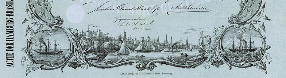 Aktie der Hamburg-Brasilischen Dampfschiffahrt-Gesellschaft (Ausschnitt)