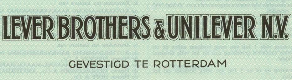 Aktie der Lever Brothers & Unilever N.V. (Ausschnitt)
