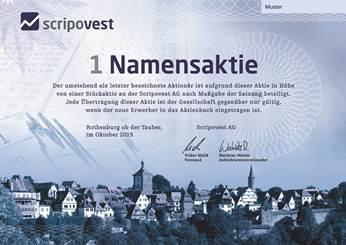 Share Certificate of Scripovest AG in Rothenburg ob der Tauber