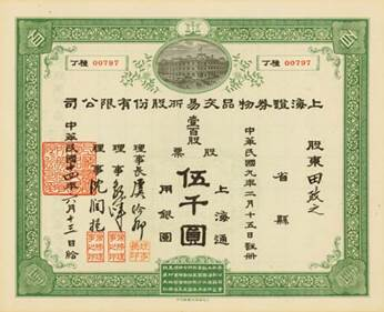 Share Certificate of Shanghai Securities and Commodities Exchange Company Limited