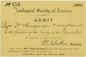 Eintrittskarte der Zoological Society of London