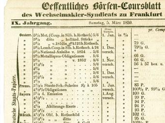 Oeffentliches Börsen-Coursblatt (Ausschnitt)